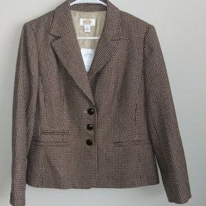 New Talbots Size 10 Houndstooth Wool Blazer